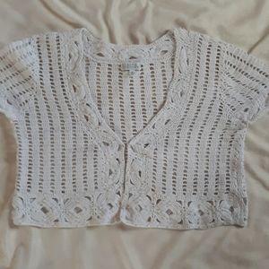 Joseph A. Crochet short sleeve vest white sz XL
